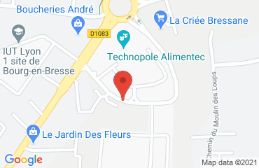 Lieu de stages Syndicat Mixte du Technopole Alimentec sur la carte de Bourg-en-Bresse